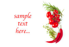Tomatoes, pepperoni and herbs and example text. On white royalty free stock photos