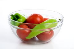 Tomatoes and peppers in bowl Royalty Free Stock Photos