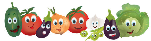 Tomatoes, Peppers, Cabbage, Eggplant,  Onion, Garlic and Beans Characters with Facial Expressions Stock Images