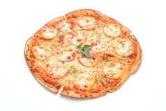 Tomatoes pizza isolated on white background Royalty Free Stock Photography