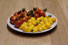 Tomatoes on plate. Red and yellow tomatoes on plate royalty free stock image