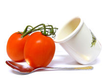 Tomatoes, Pot and Spoon Stock Photography