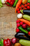Tomatoes, potatoes, eggplant, zucchini, onion, carrot, radish, c. Wood background from vegetables and fruits. the toning. selective focus Stock Photo