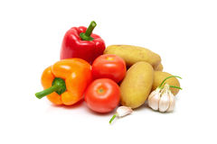 Tomatoes, potatoes, peppers and garlic isolated on white backgro Royalty Free Stock Photos
