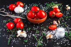 Tomatoes in a dish on a black background royalty free stock images