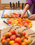 Tomatoes prepared for drying Royalty Free Stock Photo