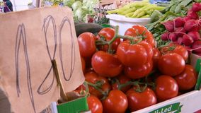 Tomatoes at a price of 180 - drawn manually on paper. Tomatoes on the stall in the market place at a price of 180 - drawn manually on paper stock video footage
