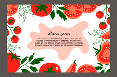 Tomatoes. Red tomatoes. Brochure. Food design template. Great for design of healthy lifestyle or diet.Vector illustration Royalty Free Stock Photography