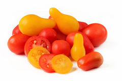 Tomatoes red and yellow colors pear shaped isolated Stock Photo
