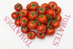 Tomatoes. Ripe tomatoes on white background, tomatoes in Spanish and English Royalty Free Stock Images