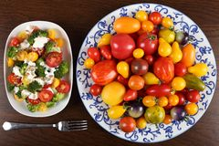 Tomatoes and salad. royalty free stock image