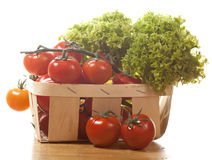 Tomatoes and salad in  wooden basket isolated. Tomatoes and salad in  wooden basket on the table isolated Royalty Free Stock Photos