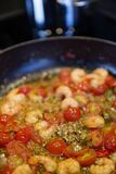 Tomatoes Sauteed With Shrimp Dish Stock Image