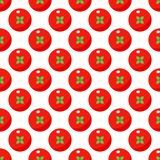 Tomatoes seamless pattern in flat style on a white background stock illustration