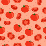Tomatoes . Seamless pattern . Tomatoes on a pink background. Vector illustration vector illustration