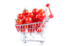 Tomatoes in the shopping cart Royalty Free Stock Photography