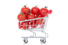 Tomatoes in shopping cart Royalty Free Stock Photography