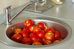 Tomatoes in a sink Stock Photo