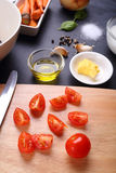 Tomatoes slice and ingredient for tomatoes soup Royalty Free Stock Image