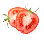 Tomatoes slices. Isolated on white background Royalty Free Stock Photography