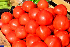 Tomatoes sold in the vegetable shop Stock Images