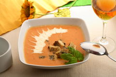 Tomatoes soup with basil Stock Photography