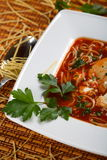 Tomatoes soup with pasta Stock Photography