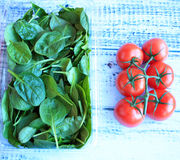 Tomatoes and Spinach Royalty Free Stock Photography
