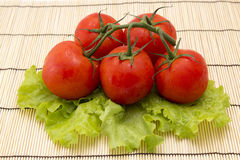 Tomatoes with sprigs on wooden background with lettuce Stock Photography