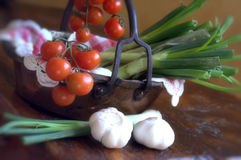 Tomatoes and spring onions Stock Photography