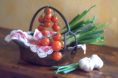 Tomatoes and spring onions Royalty Free Stock Photo