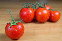 Tomatoes on a table in very dim light Stock Photos