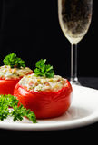 Tomatoes stuffed with cheese and decorated with fresh herbs Stock Images