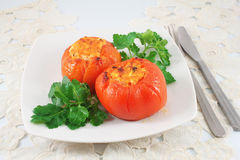 Tomatoes stuffed Stock Images