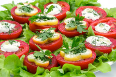 Tomatoes stuffed with cheese and sour cream Stock Photos