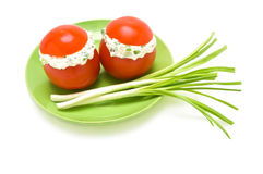 Tomatoes stuffed with cream cheese Stock Photo