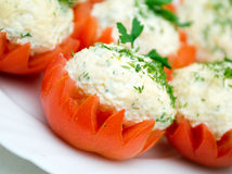 Tomatoes Stuffed with Feta. Stock Photos