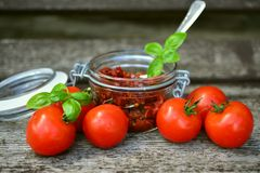 Tomatoes, Sun Dried Tomatoes, Oil Royalty Free Stock Photos
