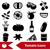 Tomatoes theme black simple icons set Royalty Free Stock Photography