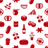 Tomatoes theme simple icons red seamless pattern eps10 Stock Images