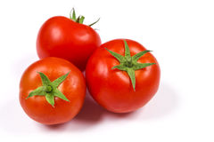 Tomatoes. Three red tomatoes on a white background Royalty Free Stock Images