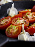 Tomatoes, Thyme and Garlic Stock Photos