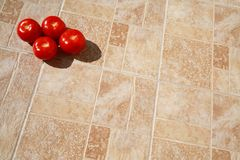 Tomatoes on Tiles Outdoors in Bright Sunny Afternoon Stock Photography