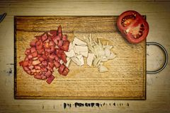Tomatoes, tofu, onions , vegetarian kebab, scrambled eggs stock images
