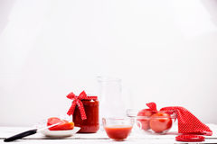 Tomatoes and tomato juice Stock Photos
