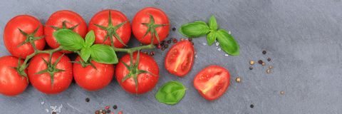 Tomatoes tomato red vegetable banner slate top view Stock Photography