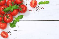 Tomatoes tomato red vegetable copyspace top view Stock Image