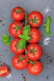 Tomatoes tomato red vegetable portrait format slate top view Royalty Free Stock Image