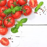 Tomatoes tomato red vegetable square copyspace top view Royalty Free Stock Photo
