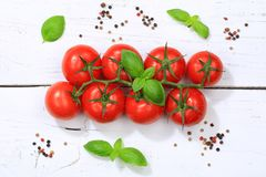Tomatoes tomato red vegetable top view Stock Photo